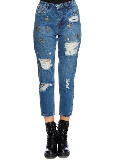 Only Only İşlemeli Denim Pantolon Renksiz